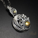 Wind Of Change - Fine Silver With Labradorite Floral Pendant-Pendant-Sky And Beyond Jewelry By Rodi