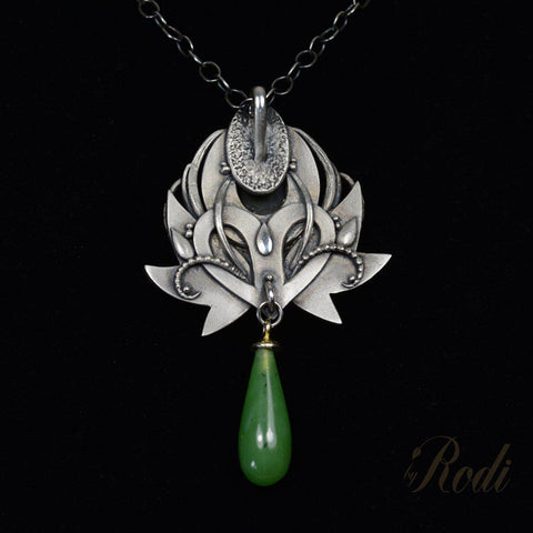 Wisdom - Fine Silver / 24k Gold Pendant With Natural Jade (Canadian Nephrite )-Pendant-Sky And Beyond Jewelry By Rodi