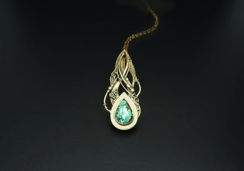 Tribal Dance - Bronze Commitment Pendant With Tibetan Turquoise-Pendant-Sky And Beyond Jewelry By Rodi