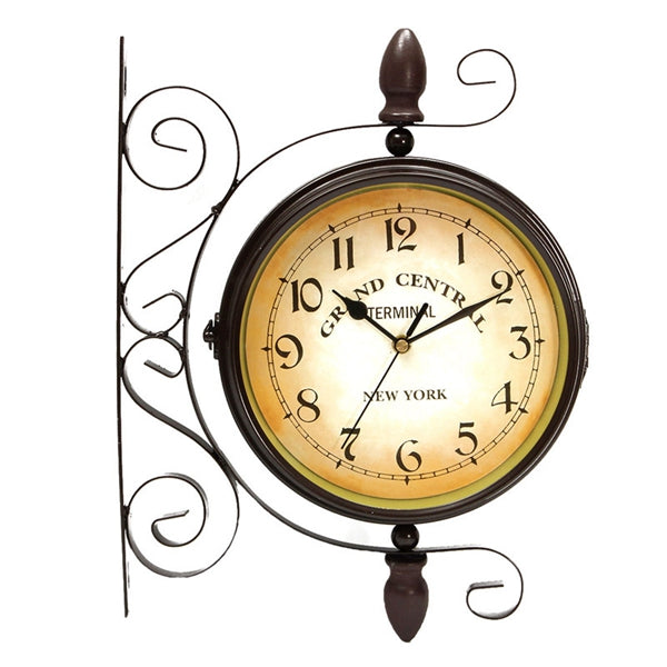 Rotating Double Side Wall Clock Garden Indoor & Outdoor