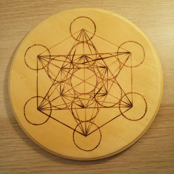 Megatron's Cube Wood Burned Crystal Grid