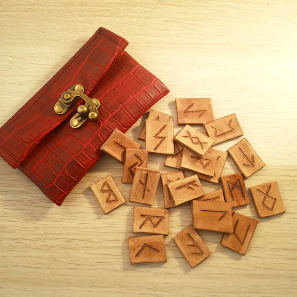 Leather Pocket Rune Set in Red Pouch