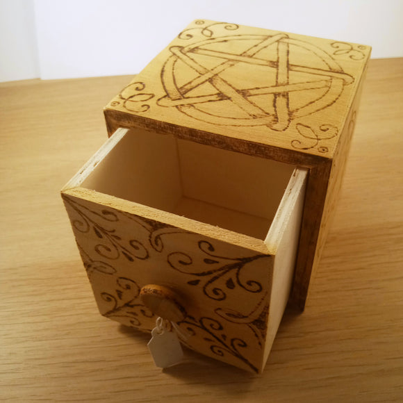 Wood Burned Pentacle Box