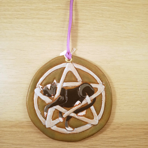 Pentacle Cat Ornament - Tooled Leather