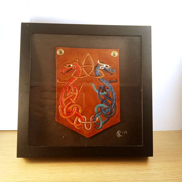 Dancing Dragons Framed Leather Art