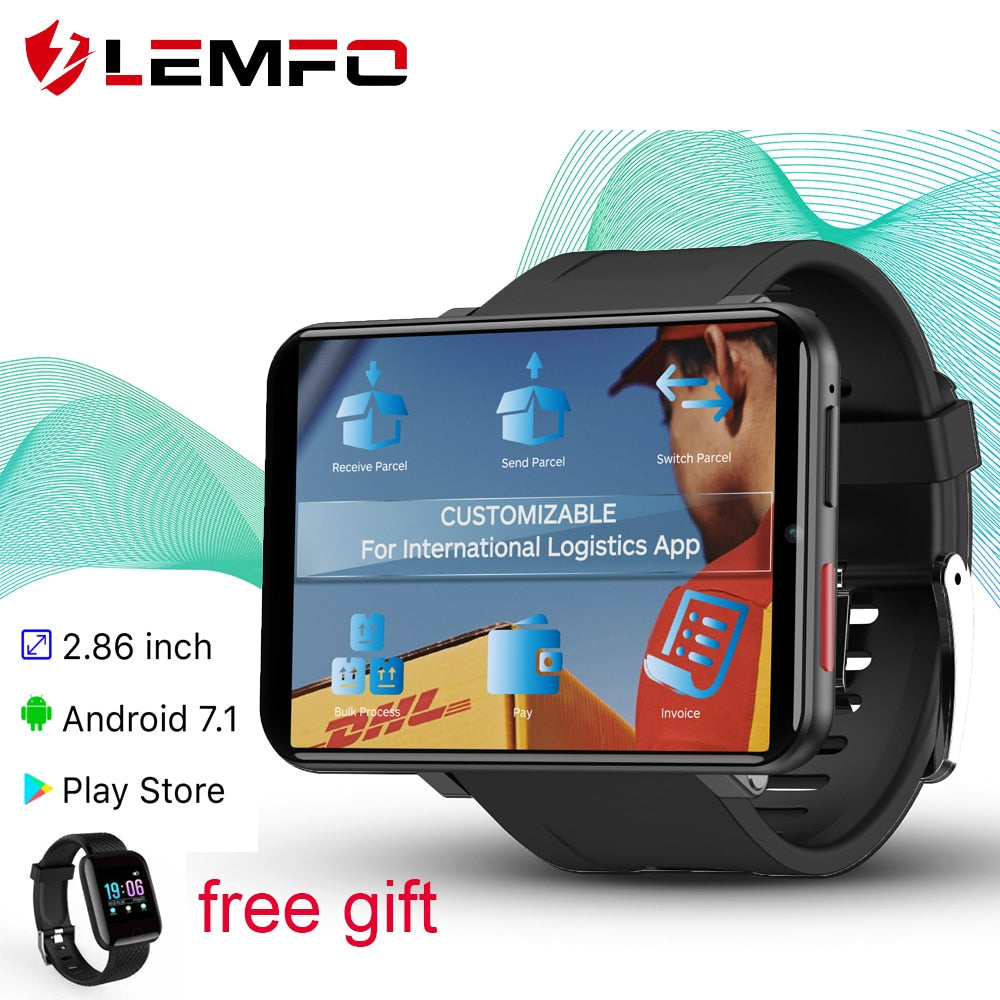 LEMFO LEMT 4G Smart Watch Men Android 7.1 3GB+32GB 2.86inch Screen SIM Card GPS WiFi 2700mAh Battery Smart Watch With Free Gift
