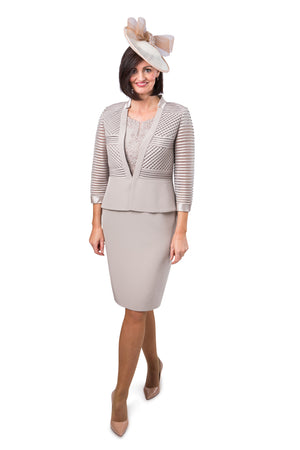 Veni Infantino Taupe Dress and Jacket
