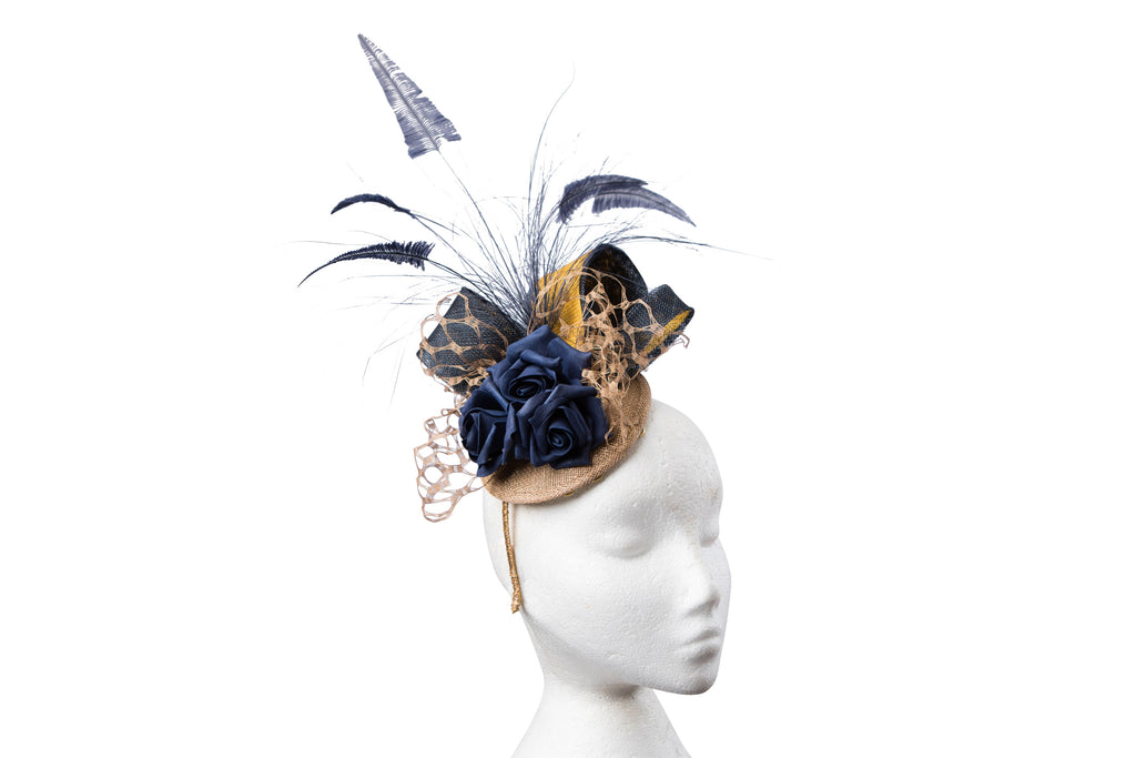 Navy and Gold Headpiece.