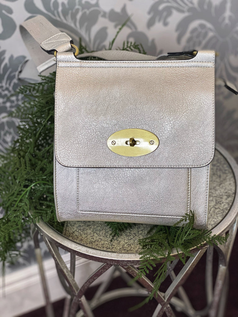 Silver MESSENGER Crossbody Bag