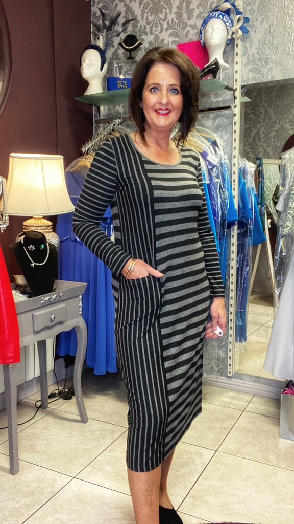 Capri Grey Stripe Dress