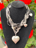 Black Pearl Heart Statement Neckpiece