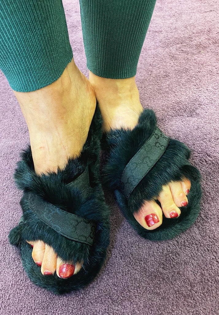 Black Faux Fur Slippers