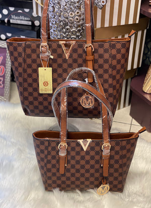 Duo of Inspired brown check fashion bags