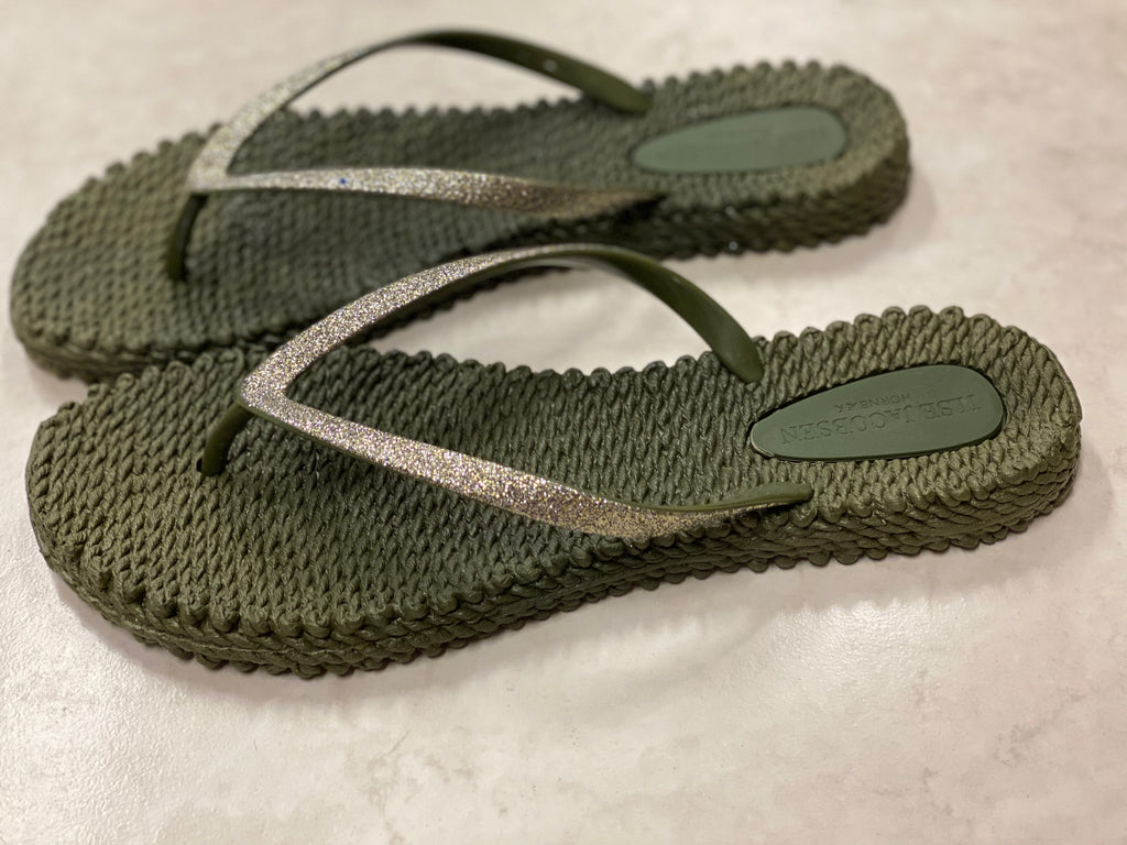 Ilse Jacobsen Army Green Flipflops