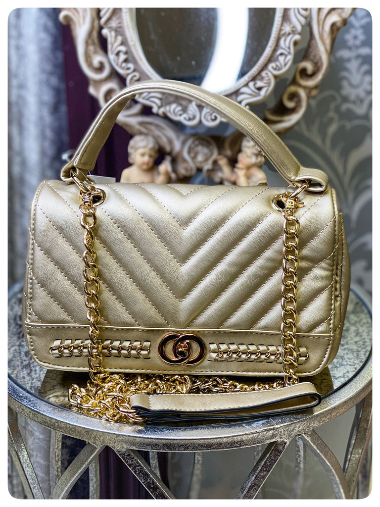 Gold Chanel Inspired Crossbody Bag