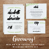 Giveaway! Printable Wedding Invitation Set