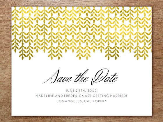 Save the Date Template: Glamorous Gold