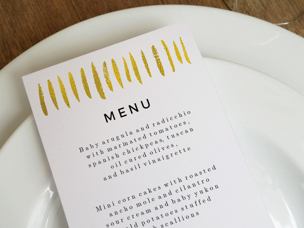 Printable Wedding Menu Template - Gold Strokes