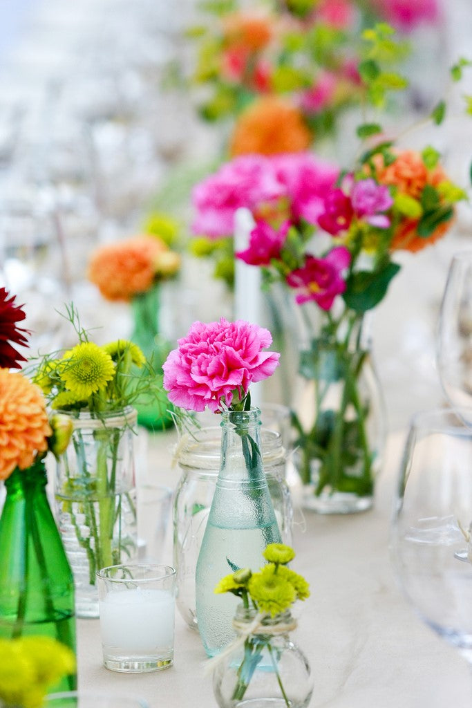 bright pink carnation wedding table flowers