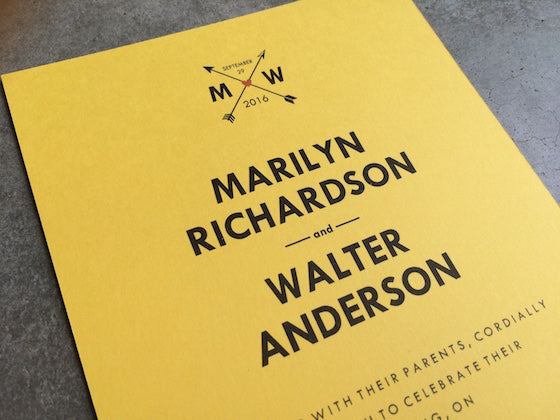 monogram and arrows wedding invitation on yellow paper - Colored Paper Printable