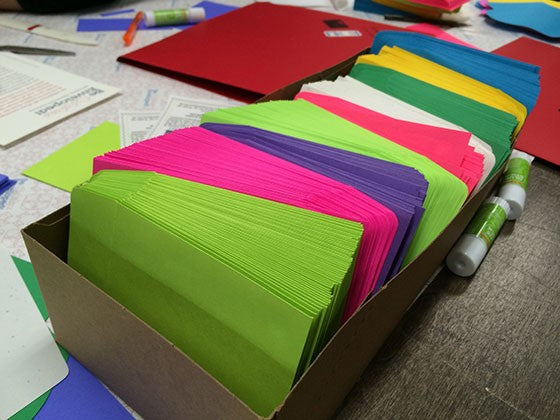boxes of multi-colored envelopes
