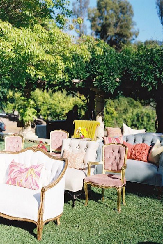 Outdoor vintage wedding lounge seating