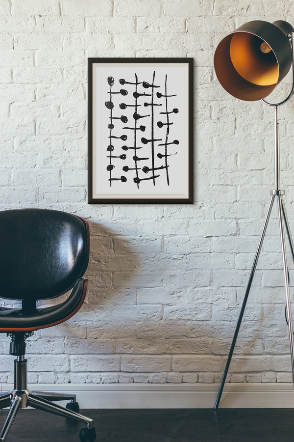 Printable Wall Art Black and White Dots and Lines