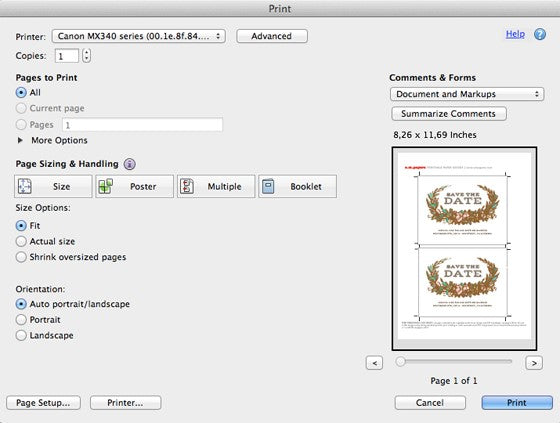 Adobe Reader Print Settings for an e.m.papers printable