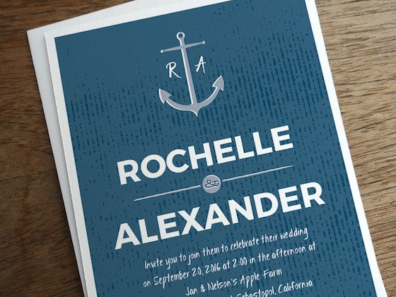 Blue anchor wedding invitation design