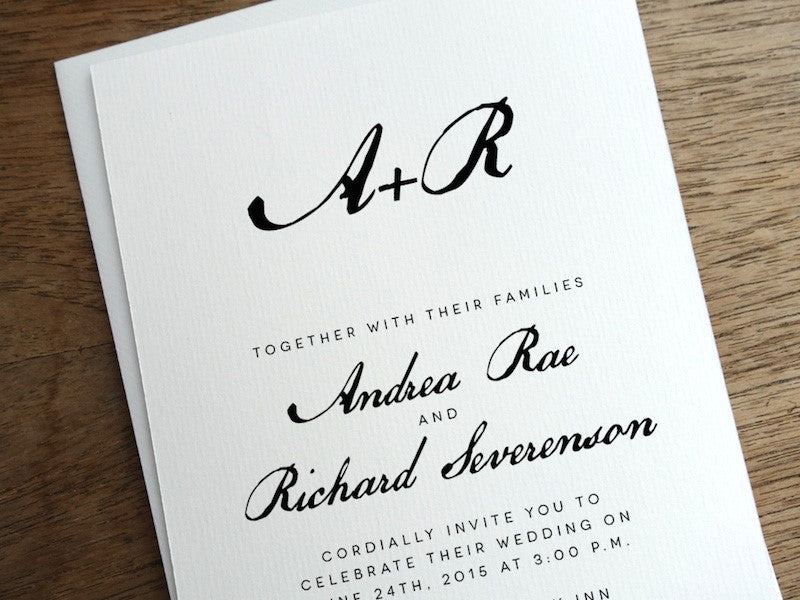 Calligraphy style black and white wedding invitation