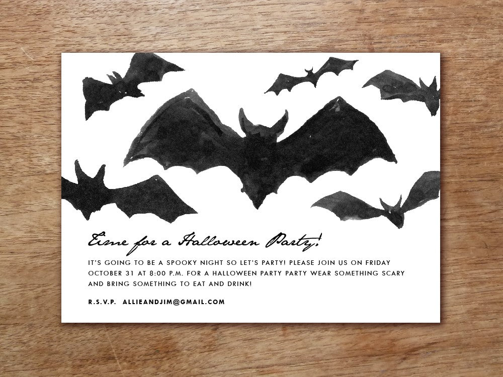 Bats Printable Halloween Party Invitation Template