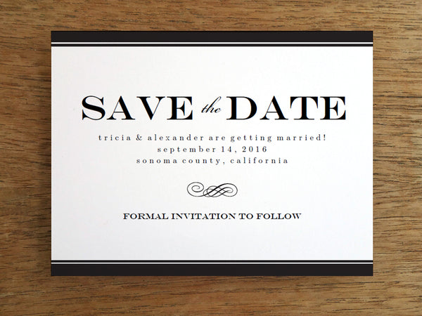 Printable Save the Date Template - Black Stripe - Black and White Save the Date Printable