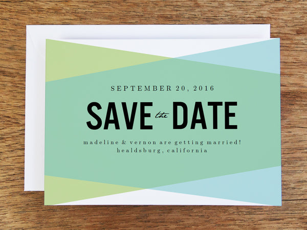 printable save the date templates - blue green geometric