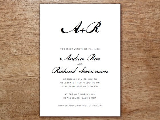 black and white calligraphy style wedding invtitation template