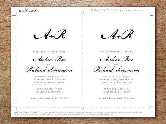 Calligraphy Monogram Printable Wedding Invitation