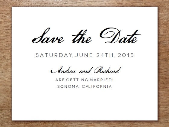 Black and white calligraphy style printable save the date
