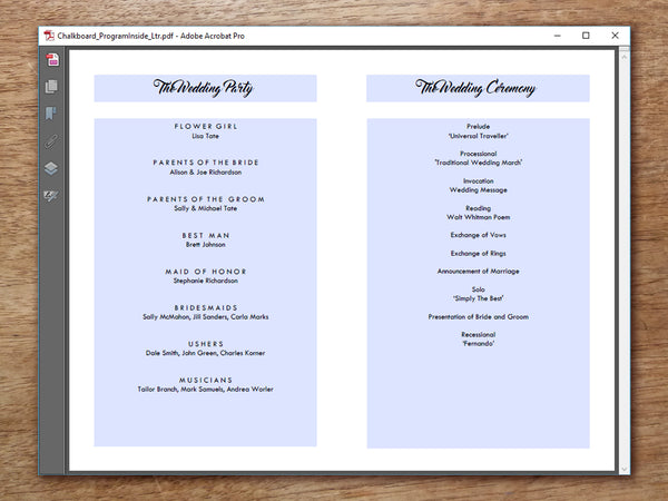 Printable Wedding Program Template - Retro Chalkboard
