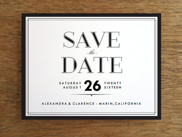 1920s style black border printable save the date card