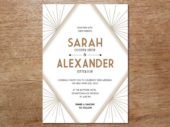 Wedding Invitation Template: Deco, A 1920s-style, Great Gatsby ...