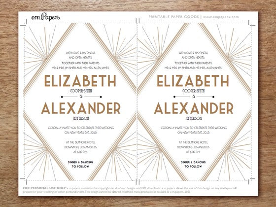roaring twenties printable wedding invitation - Great Gatsby Wedding Invitations