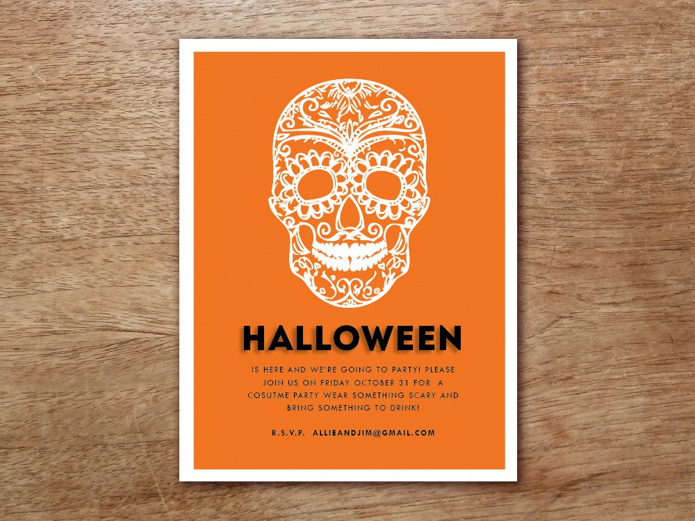 Dia De Los Muertos Halloween Party Printable Wedding Invitation