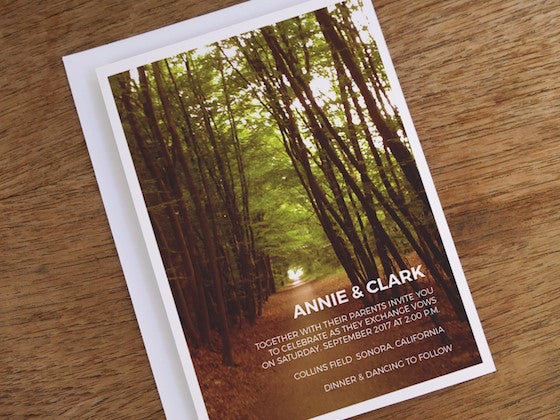 Forest path photographic printable wedding invitation design from e.m.papers
