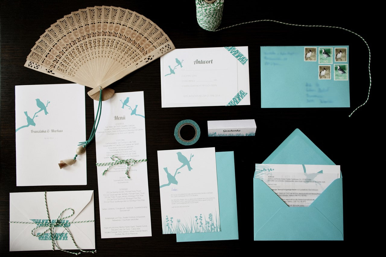 E M Papers In Real Life Franziskas Love Bird Wedding Invitation