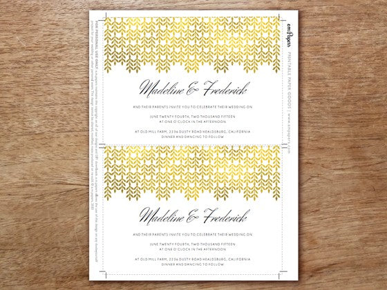 Print your own gold wedding invitation