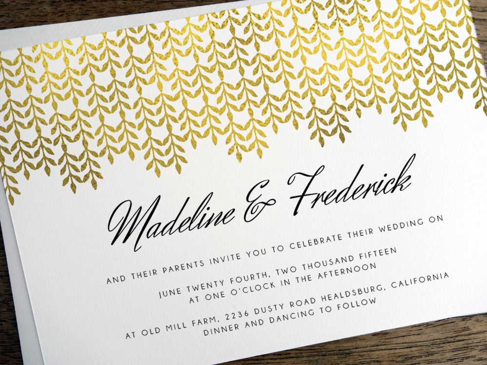 Gold leaf printable wedding invitation design