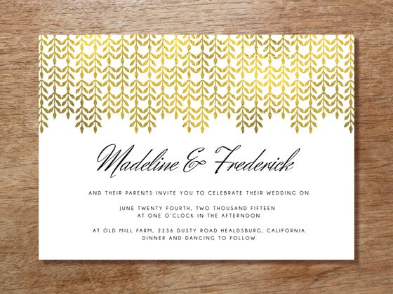 DIY Printable Gold Wedding Invitation Template