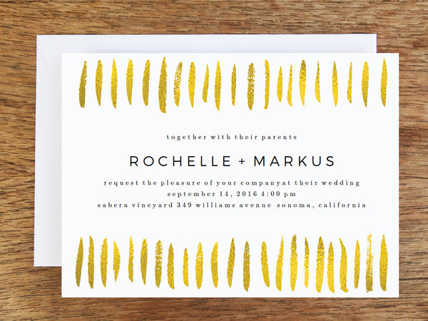 Gold Strokes Printable Wedding Invitation