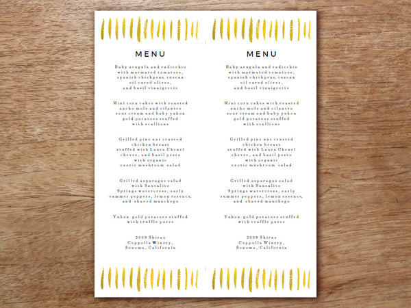 Printable Wedding Menu Template  Gold Strokes  EMPapers