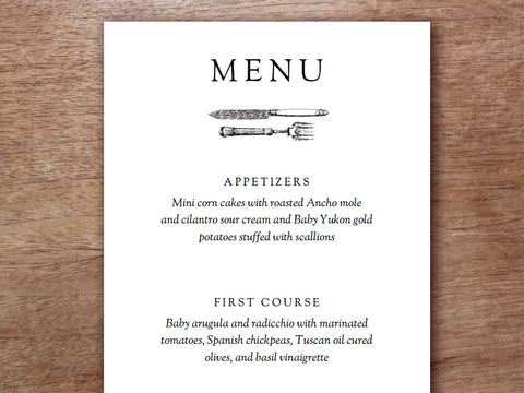 wedding menu template cutlery