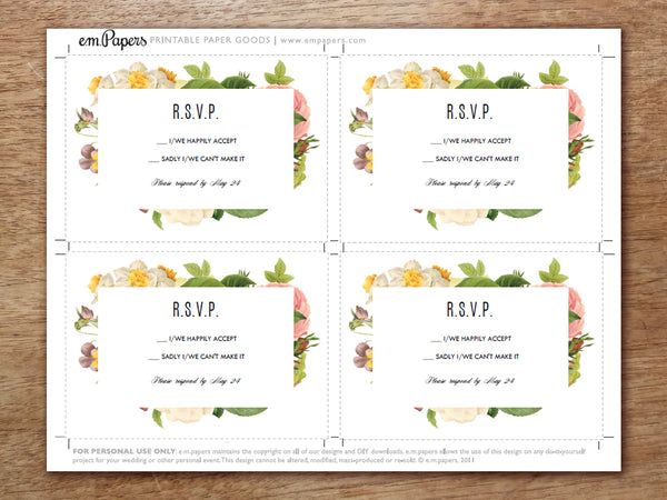 Printable Wedding RSVP Card Template - Lush Florals
